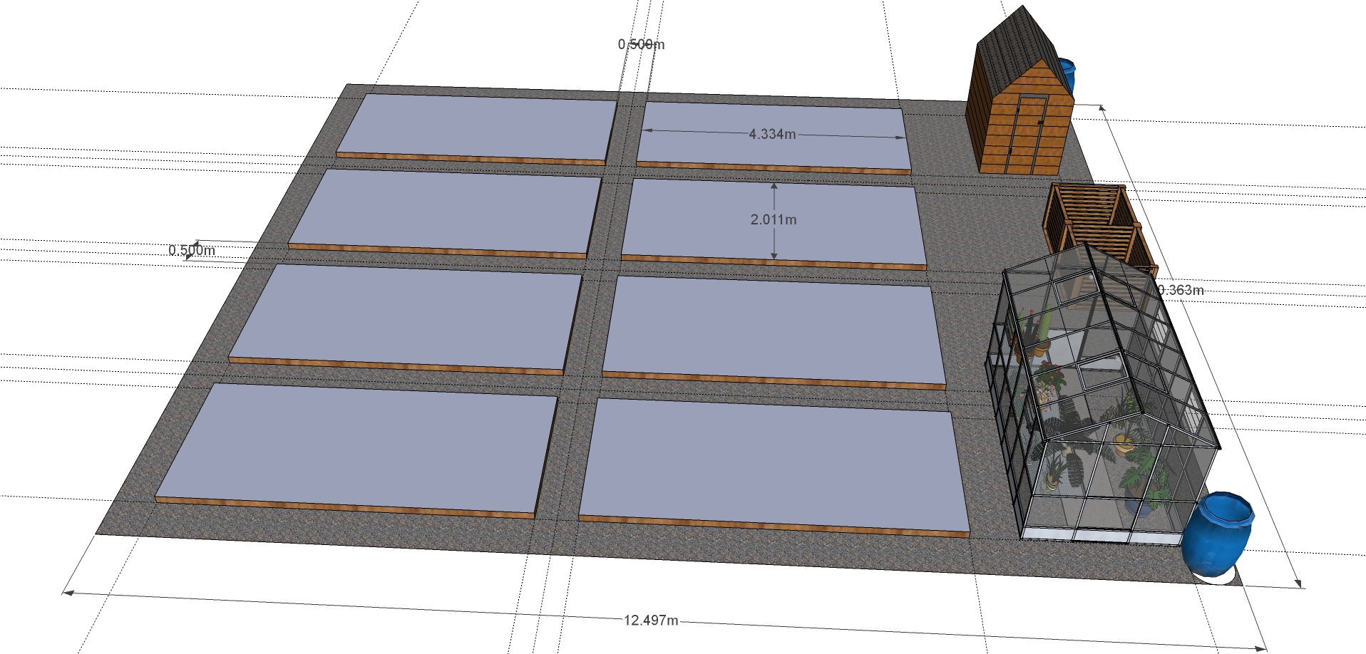 Layout for the new plot - designed in Google Sketchup